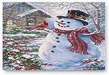 Kinhevao Netter Schneemann Happy Christmas Home