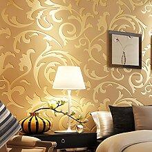 KINLO 0.53*10M 3D Wasserdichte Tapete Optik Vliestapete Gold Wandbilder für Wohnzimmer Hotel TV-Hintergrund