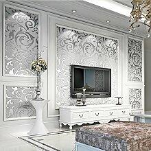 KINLO 0.53*10M 3D Wasserdichte Tapete Optik Vliestapete Silber Wandbilder für Wohnzimmer Hotel TV-Hintergrund
