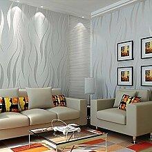 kinlo 10m * 0.53m Tapete 3D Schaumbeflockung, Vlies modern Wall Sticker Selbstklebend Wandsticker Dekoration für Boden-TV Zimmer Wohnzimmer, grau, (100M) EU