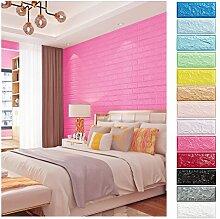 KINLO 10 Stücke Tapete Brick 70x77x1cm rosarot