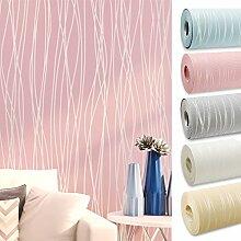 Kinlo 10 x 0.53M Wandtapete 3D-Tapete Vliestapete,3D Relief Tapete Dekoration für TV Wand Wohnzimmer Schlafzimmer und Hotel - Rosa