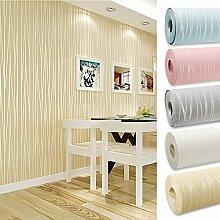 Kinlo 10 x 0.53M Wandtapete 3D-Tapete Vliestapete,3D Relief Tapete Dekoration für TV Wand Wohnzimmer Schlafzimmer und Hotel - Beige