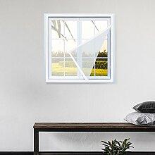 KINLO 100*100cm weiss Anti Moskito Fenster Bildschirm Fliegengitter DIY Selbstklebende Vorhang mit Sticky Klettband 3-5Jahre Garantie Abnehmbar und waschbar
