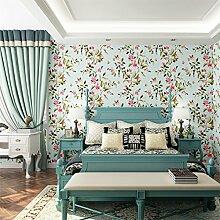 KINLO 10M Vliestapete 3D Selbstklebend Muster Tapete Fototapete mit Blumen , Wandaufkleber für Schlafzimmer Wohnzimmer moderne TV(Blau)