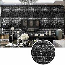 KINLO® 25 Stücke 3D Wandsticker Stein 70x77x1cm schwarz Verdickt selbstlebend Wandpaneele Wasserdicht Fototapete aus hochwertigem PE für Schlafzimmer 2 Jahren Garantie