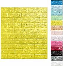 KINLO® 25 Stücke Tapete Stein Schaum 70x77x1cm gelb Verdickt selbstlebend 3D DIY modern Wasserdicht Wandaufkleber aus hochwertigem PE für Badezimmer 2 Jahren Garantie