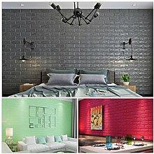 KINLO® 25 Stücke Ziegelstein 70x77x1cm grau Verdickt selbstlebend Wandhintergrund Aufkleber 3D modern Wasserdicht Tapete aus hochwertigem PE für Zimmer 2 Jahren Garantie
