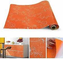KINLO 3 PCS Aufkleber Küchenschränke 0.61x5M Orange Küchenfolie PVC Selbstklebend Wasserdicht Schrankfolie Möbelfolie Dekofolie für Küchenschrank küchenfolie Dekofolie