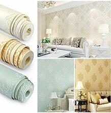 KINLO 3D 10M Tapete Vliestapete Einfache moderne Tapeten Wandtapete für Wohnzimmer, Schlafzimmer und TV Hintergrund(Milch Weiss)