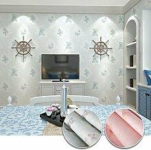 KINLO 3D Tapete Vliestapete mit cute Cartoon Muster 0.53*5M Wandtapete für Kinderzimmer Schlafzimmer (blau)