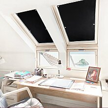 Kinlo 48*93cm Sonnenschutz Dachfensterrollo Rollo Auto für Velux Dachfenster Auto mit beschichteter Rückseite ohne Bohren