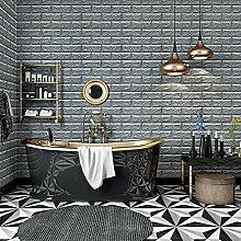 KINLO® 5 Stücke Steinwand 70x77x1cm grau Verdickt selbstlebend Wanddeko Ziegel 3D modern Wasserdicht Tapete Brick aus hochwertigem PVC für Zimmer 2 Jahren Garantie