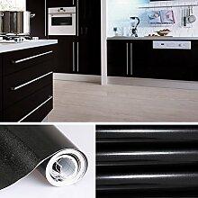 KINLO 5x0.61 M PVC Küchenschrank-Aufkleber Selbstklebend Küchenfolie Klebefolie Schrankfolie Deko Tapeten Rollen für Küchenschränke Möbel ,Schwarz