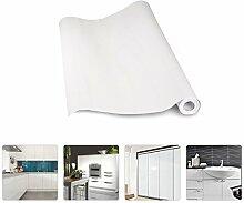 KINLO® aufkleber küchenschränke Weiß 2 Stk. 61x500cm aus hochwertigem PVC tapeten küche klebefolie Möbel Wasserfest aufkleber für schrank selbstklebende folie Küchenschrank küchenfolie Dekofolie 2 Jahren Garantie