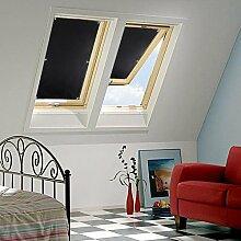 KINLO Dachfensterrollo 76 x 110cm Schwarz Thermo Sonnenschutz Verdunkelungsrollo für Velux Dachfenster UV Schutz mit Saugnäpfe ohne Bohren