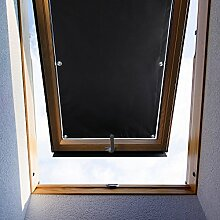 KINLO Dachfensterrollo 76 x 93cm Schwarz Thermo Sonnenschutz Verdunkelungsrollo für Velux Dachfenster UV Schutz mit Saugnäpfe ohne Bohren