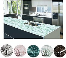 KINLO DIY Selbstklebend Küchenschränke weiss/grün 0.61 x 5 M Aufkleber wasserdicht Küchenfolie Möbelfolie Dekoration für Wand, Möbel zu renovieren mit Tuch ab zu wischen