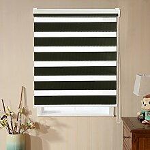 KINLO Doppelrollo DUO-Rollo 80x150 cm Fensterrollo Verdunkelungsrollos brauchen Bohren inkel Ketten- / Kindersicherung Lichtblick und Sonnenschutz (Schwarz)