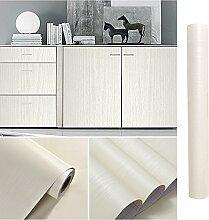 KINLO Klebefolie für Küche Weiß-Beige 5x0.61M HOLZ Schrankfolie verdickt Möbelfolie selbstklebend modern 2 Jahren Garantie