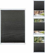 KINLO Plissee Jalousie 80x130cm Dunkelgrau Lichtschutz Faltrollo Klemmfix ohne Bohren Sonnenschutzrollo Klemmträgern für Fenster Tür