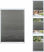 KINLO Plissee Jalousie 80x130cm Grau Lichtschutz Faltrollo Klemmfix ohne Bohren Sonnenschutzrollo Klemmträgern für Fenster Tür