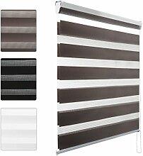KINLO® Plissee Seitenzugrollo 60x150cm(BreitexLänge) Braun Rollo 100% Polysterswerbe blickdicht Sonnenschutz UV-Schutz doppelrollo Wohnzimmer klemmfix lichtdurchlässig und verdunkelnd Duo Rollo für Fenster