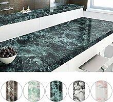 KINLO PVC 0.61 x 5 M Marmor dunkel grün Möbelfolie Küchenfolie Küchenschrank Aufkleber Tapete für Küchen Schrank Tische Wohnzimmer/Badzimmer