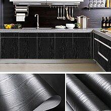 KINLO PVC Küchenschrank-Aufkleber 0.61x5M Schwarz Holz Selbstklebend Küchenfolie PVC Wasserfest Schrankfolie Klebefolie Dekofolie für Küchenschrank Möbel
