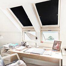 KINLO® Rollo Dachfenster Schwarz 38x75cm(BxL) TOP Qualität Verdunkelungsrollo für Dachfenster Hitzeschutz aus 100% Polyesterfasern Dachfensterplissee ohne Bohren Thermorollo für Verlux mit Krafthaftsaugern