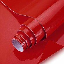 KINLO rot glanz Möbelfolie 5x0.6M 3pcs (9㎡) PVC