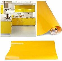 KINLO® selbstklebende folie küche Gelb 61x500cm Tapeten küche aus hochwertigem PVC klebefolie aufkleber küchenschränke Wasserfest Möbelfolie für schrank selbstklebende folie Küchenschrank küchenfolie Dekofolie 2 Jahren Garantie
