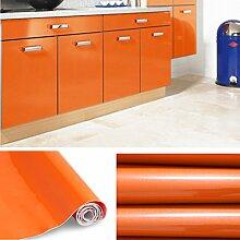 KINLO® selbstklebende folie küche Orange 61x500cm aus hochwertigem PVC küchenfolie klebefolie Tapeten küche aufkleber küchenschränke Wasserfest aufkleber für schrank Möbelfolie Dekofolie 2 Jahren Garantie