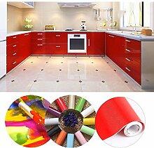 KINLO® selbstklebende folie küche Rot 61x500cm aus hochwertigem PVC aufkleber küchenschränke küchenfolie klebefolie Tapeten küche Wasserfest aufkleber für schrank Möbelfolie Dekofolie 2 Jahren Garantie