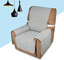 KINLO® sesselauflage 1 Sitzer 177x56cm Sesselbezug Grau-Schwarz Sofaüberwurf 100% Polyster und 100% weiche Baumwolle Füllung sofahusse schütz für Sofa und Sessel 2 Jahren Garantie