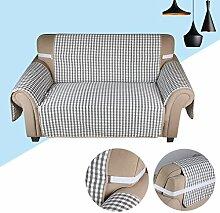 KINLO® sesselauflage 2 Sitzer 167x112cm Sesselbezug Grau-Schwarz Sofaüberwurf 100% Polyster und 100% weiche Baumwolle Füllung sofahusse schütz für Sofa und Sessel 2 Jahren Garantie