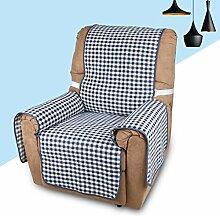 KINLO® Sofaüberwurf 1 Sitzer 177x56cm Sesselbezug Blau-Schwarz sesselauflage 100% Polyster und 100% weiche Baumwolle Füllung sofahusse schütz für Sofa und Sessel 2 Jahren Garantie