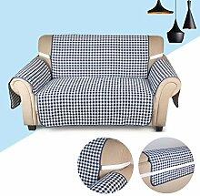 KINLO® Sofaüberwurf 2 Sitzer 167x112cm Sesselbezug Blau-Schwarz sesselauflage 100% Polyster und 100% weiche Baumwolle Füllung sofahusse schütz für Sofa und Sessel 2 Jahren Garantie