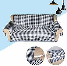 KINLO® Sofaüberwurf 2 Sitzer 167x165cm Sesselbezug Blau-Schwarz sesselauflage 100% Polyster und 100% weiche Baumwolle Füllung sofahusse schütz für Sofa und Sessel 2 Jahren Garantie