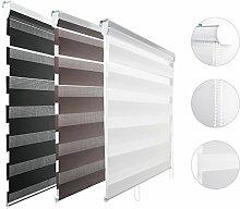 Kinlo Sonnenschutz Duo-Rollo Doppelrollo für Fenster 90*150 cm(BxL) Weiss Jalousie Rollo Klemmfix mit Kettenzug und Klemmträger
