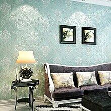 KINLO® Tapete Vlies 3d 10x0.53mTapete Wand Tapete Blau barock für Wohnzimmer TOP Qualität Wandaufkleber für Schlafzimmer Möbelfolie barock tapete modern tapete muster tapete für Büro 2 Jahren Garantie