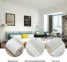 KINLO® Tapete Ziegel Weiss 5x0.53m Steintapete Tapete Wohnzimmer Vliestapete aus Hochwertigem Stoff Wandtapete 3D Tapete Vlies fototapete Tapete modern 2 Jahren Garantie