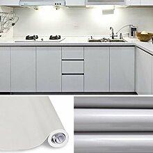 KINLO® Tapeten küche Grau 2 Stk. 61x500cm aus hochwertigem PVC klebefolie aufkleber küchenschränke Wasserfest aufkleber für schrank selbstklebende folie Küchenschrank küchenfolie Dekofolie 2 Jahren Garantie