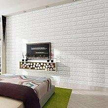 KINLO®Tapeten weiß 3D selbstklebend 5mX53cmx0.092cm (LxBxH) für wohnzimmer Vliestapeten 3D Effekt Wandtapete aus Top Qualitaet Vlies keine Geruch Schlafzimmer Wandtatoo fototapete 10 Jahren Lebensdauer wallpaper Wandaufkleber
