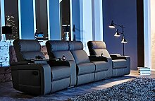 Kinosessel, Cinema Sessel, Relax Sofa, Heimkino Sessel, TV Sofa, Relaxcouch, Home Cinema, Kunstleder schwarz, verstellbar, Liegefunktion