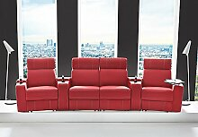 Kinosessel Kinosofa mit 4 Plätzen Cinema Heimkino Sessel Hollywood mit Relaxfunktion Staufächern und Getränkehalter