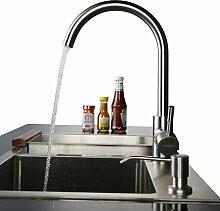 Kinse® 304 Küchenarmatur 360° Mischbatterie Einhebel Wasserhahn Waschtisch Spüle Edelstahl Bad & Küche