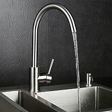 KINSE® 360° Küchenarmatur Wasserhahn Einhandmischer Waschbecken armaturen Edelstahl SUS304 Spültischarmaturen