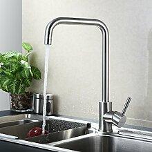 KINSE® 360°Schwenkbar Küchenarmatur Küche Wasserhahn aus SUS304 Edelstahl Einhebelmischer Spüle Armatur Spültischarmatur Mischbatterie mit ABS Bubbler - Typ F