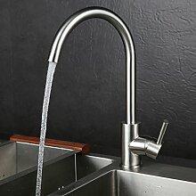KINSE® 360° Schwenkbarer Gebürstet Wasserhahn Armatur aus Edelstahl für Küche Spüle Waschbecken hoher Auslauf 30% Wasser Sparen